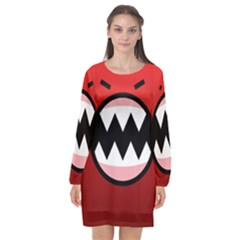 Funny Angry Long Sleeve Chiffon Shift Dress