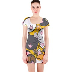 Cats Cute Kitty Kitties Kitten Short Sleeve Bodycon Dress