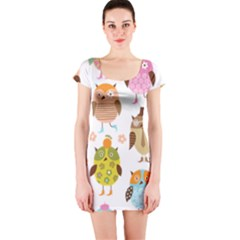 Cute Owls Pattern Short Sleeve Bodycon Dress by BangZart