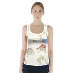 Dinosaur Art Pattern Racer Back Sports Top