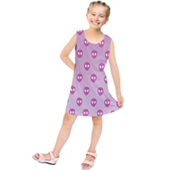 Alien Pattern Pink Kids  Tunic Dress