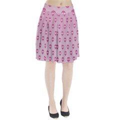 Alien Pattern Pink Pleated Skirt