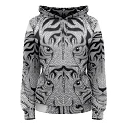 Tiger Head Women s Pullover Hoodie