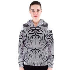 Tiger Head Women s Zipper Hoodie