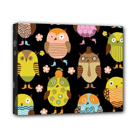 Cute Owls Pattern Canvas 10  X 8  by BangZart