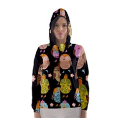 Cute Owls Pattern Hooded Wind Breaker (women) by BangZart