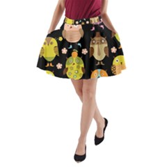 Cute Owls Pattern A Line Pocket Skirt by BangZart