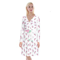 Watermelon Wallpapers  Creative Illustration And Patterns Long Sleeve Velvet Front Wrap Dress