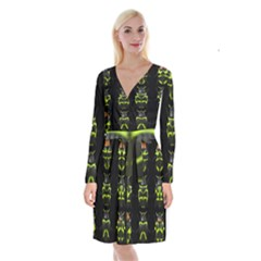 Beetles Insects Bugs Long Sleeve Velvet Front Wrap Dress