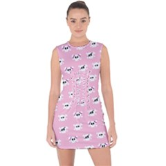 Girly Girlie Punk Skull Lace Up Front Bodycon Dress