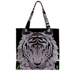 Tiger Head Zipper Grocery Tote Bag by BangZart