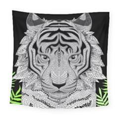 Tiger Head Square Tapestry (large) by BangZart