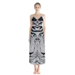Tiger Head Button Up Chiffon Maxi Dress