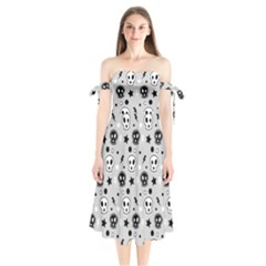 Skull Pattern Shoulder Tie Bardot Midi Dress by BangZart