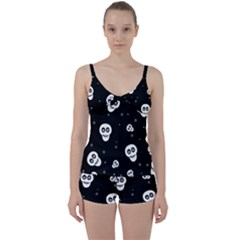 Skull Pattern Tie Front Two Piece Tankini