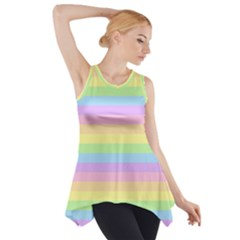Cute Pastel Rainbow Stripes Side Drop Tank Tunic