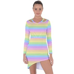Cute Pastel Rainbow Stripes Asymmetric Cut Out Shift Dress