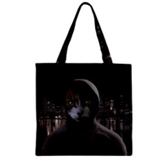 Gangsta Cat Zipper Grocery Tote Bag by Valentinaart