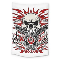 Skull Tribal Large Tapestry by Valentinaart