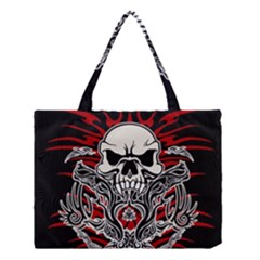 Skull Tribal Medium Tote Bag by Valentinaart