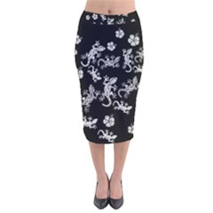 Ornate Lizards Velvet Midi Pencil Skirt by Valentinaart