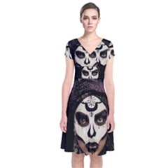 Voodoo  Witch  Short Sleeve Front Wrap Dress by Valentinaart