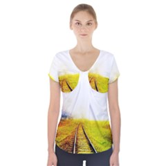 Landscape Short Sleeve Front Detail Top by Valentinaart