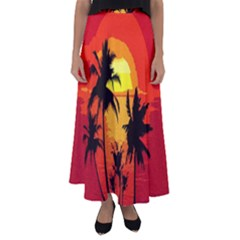 Landscape Flared Maxi Skirt