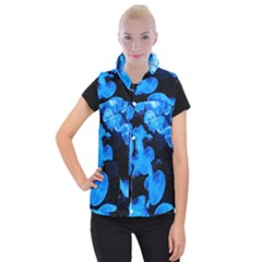Jellyfish  Women s Button Up Puffer Vest by Valentinaart