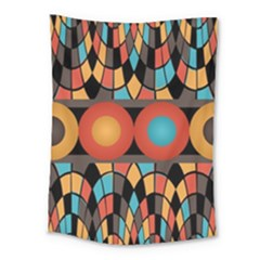 Colorful Geometric Composition Medium Tapestry by linceazul