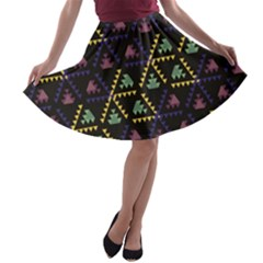 Triangle Shapes                              A-line Skirt by LalyLauraFLM