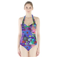 Big And Small Shapes                             Women s Halter One Piece Swimsuit