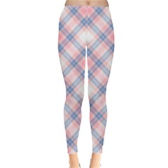 Pastel Pink And Blue Plaid Leggings  by NorthernWhimsy