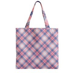 Pastel Pink And Blue Plaid Zipper Grocery Tote Bag by NorthernWhimsy