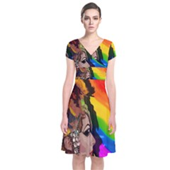 Transvestite Short Sleeve Front Wrap Dress by Valentinaart