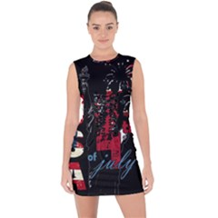 4th Of July Independence Day Lace Up Front Bodycon Dress