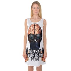 Do What Your Brain Says Sleeveless Satin Nightdress