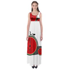 Watermelon Bicycle  Empire Waist Maxi Dress