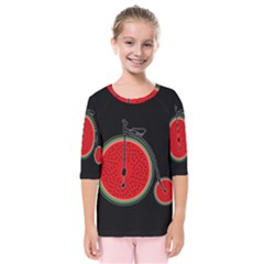 Watermelon Bicycle  Kids  Quarter Sleeve Raglan Tee