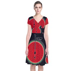 Watermelon Bicycle  Short Sleeve Front Wrap Dress by Valentinaart