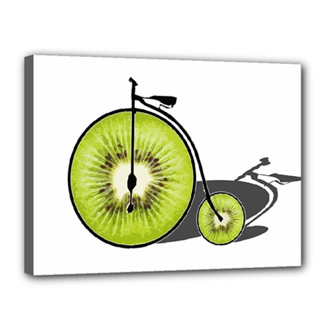Kiwi Bicycle  Canvas 16  X 12  by Valentinaart