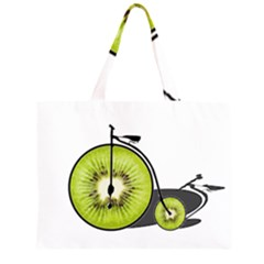 Kiwi Bicycle  Zipper Large Tote Bag by Valentinaart