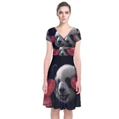 Boxing Panda  Short Sleeve Front Wrap Dress by Valentinaart