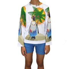 Tropical Penguin Kids  Long Sleeve Swimwear