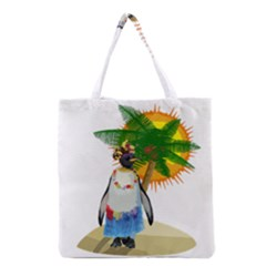 Tropical Penguin Grocery Tote Bag by Valentinaart