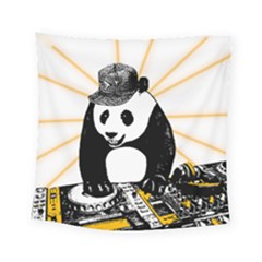 Deejay Panda Square Tapestry (small) by Valentinaart
