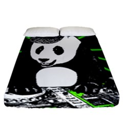 Deejay Panda Fitted Sheet (queen Size) by Valentinaart