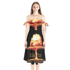 Nuclear Explosion Shoulder Tie Bardot Midi Dress by Valentinaart