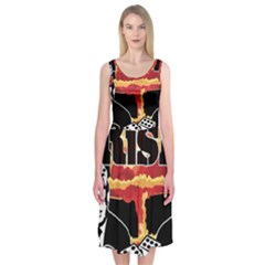 Nuclear Explosion Trump And Kim Jong Midi Sleeveless Dress by Valentinaart