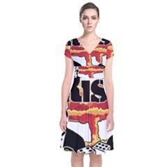Nuclear Explosion Trump And Kim Jong Short Sleeve Front Wrap Dress